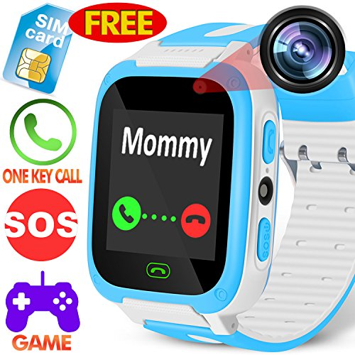 Kids Phone Smart Watch - [Speedtalk SIM Included] Kids Smartwatch for 3-14 Year Boys Girls Camera Game Sport Outdoor Cellphone Watch Bracelet for Summer Holiday School Gift (with SIM/Blue) by Kidaily