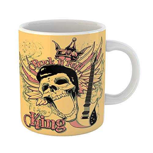 Emvency Funny Coffee Mug Skull Rock and Roll King Artistic Star Vintage Acoustics Chord Classical Club 11 Oz Ceramic Coffee Mug Tea Cup Best Gift Or Souvenir for $<!--$16.99-->