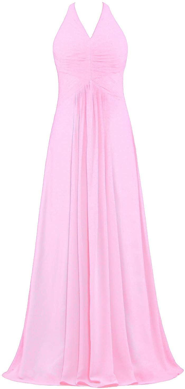 e65ec4bb5eb ANTS Women s Chiffon Halter Bridesmaid Dresses Long Evening Gowns at Amazon  Women s Clothing store