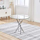 Clear Safety Glass Dining Table 90cm Diameter Round Top Stable Chrome Cross Legs Stunning Design Modern Small Circular Kitchen Bistro Dinner (Table Only)