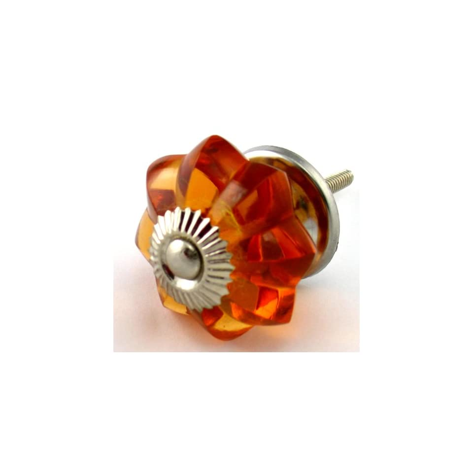 Old Amber Glass Cabinet Knobs 6 pc Cupboard Drawer Pulls & Handles ~ K83 Old Amber Melon Style Glass Knobs with Polished Nickel Hardware ~ Glass Knobs, Handles & Pulls for Dresser, Drawers, Cabinets & Vanity