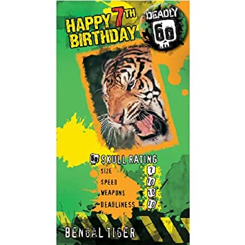 Bbc Earth Deadly 60 Age 7 Bengal Tiger Birthday Card With Badge Ds02