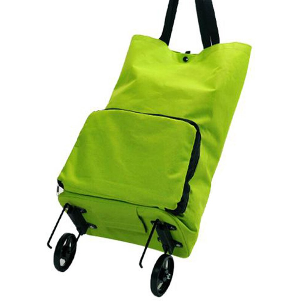 Handcart Shopping Cart Tug Package Portable Collapsible Shopping Cart Shopping Travel Bag Green Shopping Bag Load 10 Kg (Color : Green)