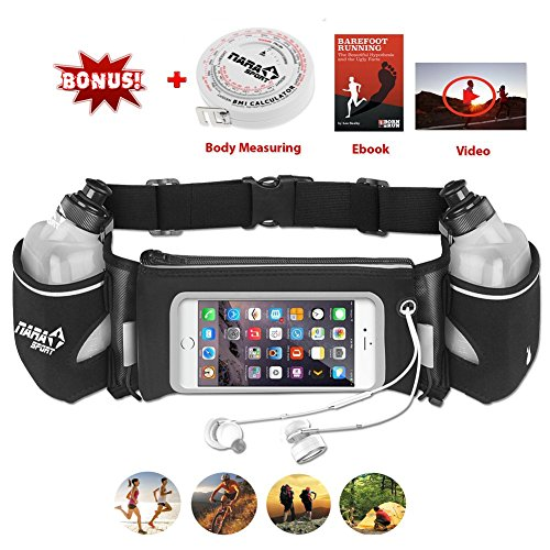 [Upgrade Version] Running belt with water Bottle by NARA Sport for running, walking,cycling,climbing, Hiking with Touchscreen Cellphone Bonus a BMI Body Measuring, ebook, video Training