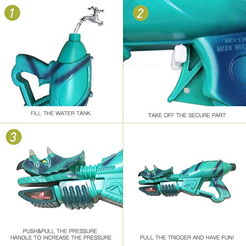 Ancaixin Dinosaur Water Gun Herrera & Triceratops Super Soaker Gun Set Summer Beach Pool Toys Big Squirt Blaster for Kids & Adults Red & Blue 2 Packs by Ancaixin (Image #4)