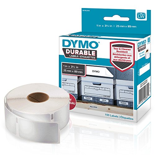 "DYMO LW Durable Labels for LabelWriter Label Printers, White Poly, 1"" x 3-1/2"", Roll of 100 (1976200) - Poly Paper Labels"