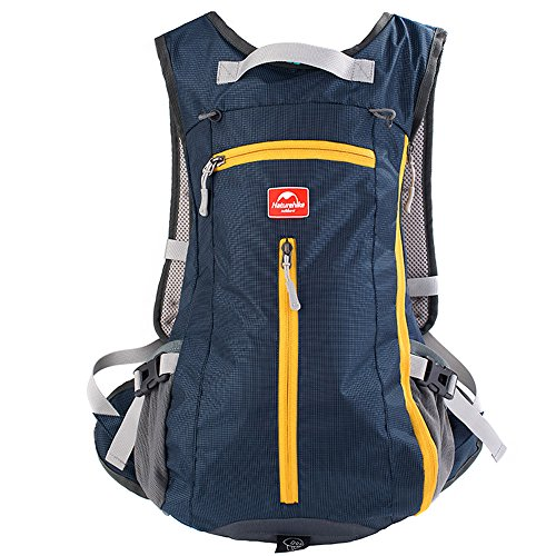 Tentock Biking Cycling Backpack 15L Nylon Ultra Lightweight Outdoor Hiking Sackpack Sports Athletic Gymsack Unisex Travelling Trekking Rucksacks Casual School Daypack(Dark Blue)