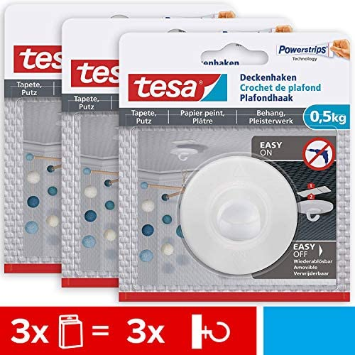 tesa 77781, Weiß Selbstklebender Tapeten & Putz im 3er Pack-ideal zur Befestigung von Deko-Objekten-hält bis zu 0,5 kg/Haken-spurlos ablösbar, 3 x Deckenhaken