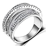 Rhodium Plated Crossover Statement Ring