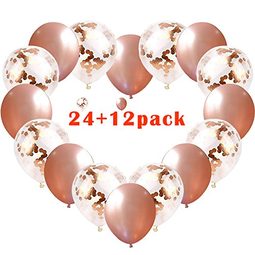 TIRIO Rose Gold Confetti Balloons 36Pcs, 12 Inch Premium Quality Rose Gold Latex Party Balloons Great for Weddings, Birthdays, Bridal Shower Decorations, Engagement, Graduation (Simple Graduation Decorations)