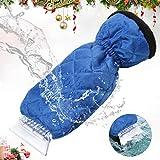YIBEICO Car Snow Ice Scraper, Windscreen Scraper with Glove, Waterproof Windshield Snow Scrapers with Warming Thick Fleece, Elastic Wristband Window Ice Scraper Mitten, Blue