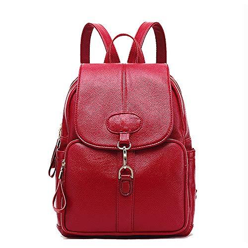 Casual da Cow La Viaggio selvaggia Versione Soft pelle colore Borsa College in Wind Backpack Rosso coreana nero donna Fashion marea wnxqBaSvEa