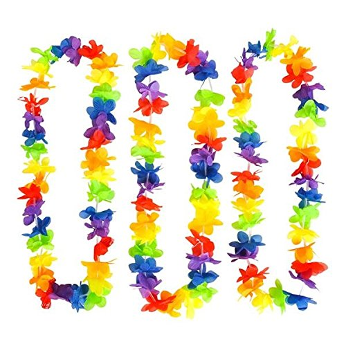 Rainbow Flower Leis, Hawaiian Luau Leis - Cool And Fun Colorful Rainbow Flower Garland - Novelty & Gag Toys, Party Favor, Bag Stuffer, Giveaway, Gift Ideas- By Kidsco (Toy Bag Flowers)