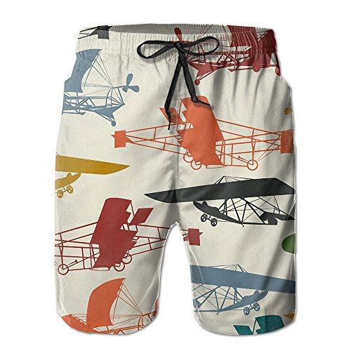 LAIUE Man's Cartoon Airplane Beach Athletic Quickly Drying Volley Above Knee Beach Shorts (Airplanes Rc Discount)