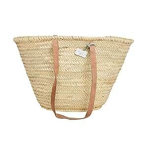 Amazon.com - French Style Market Basket with long leather handles: Emma - Shoulder Handbags