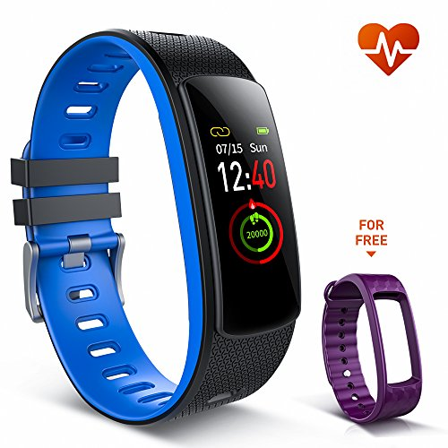 Pro Heart Rate Watch Monitor (Fitness Tracker Watch, iWOWNfit i6HRC Fitness Watch with Heart Rate Monitor Color Screen, IP67 Waterproof 7 Sports Modes Smart Bracelet Pedometer Watch Sleep Monitor Calorie Counter for Kids Women Men)