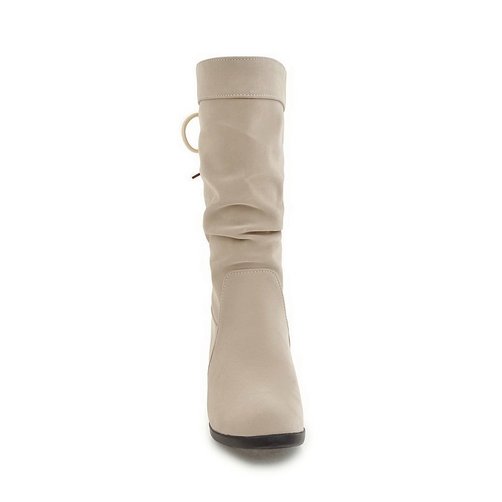 AdeeSu Womens Mid-Calf Wedges Pleated Ribbons Urethane Boots SXC02427