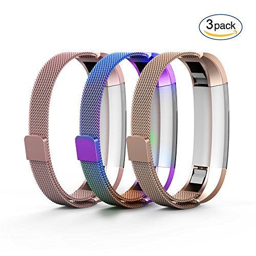 Metal Sportswear (Tecson Fitbit Alta & Fitbit Alta HR Bands (3-Pack), Stainless Steel Milanese Loop Replacement Bracelet Strap with Magnet Lock for Fitbit Alta HR (Pink & Champagne & Colorful))