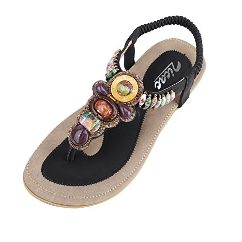 Back Strap Thong - Zicac Women's Bohemian Thong Sandal Elastic Back Strap Clip Toe Flats Sandals with Beads(8, Black)