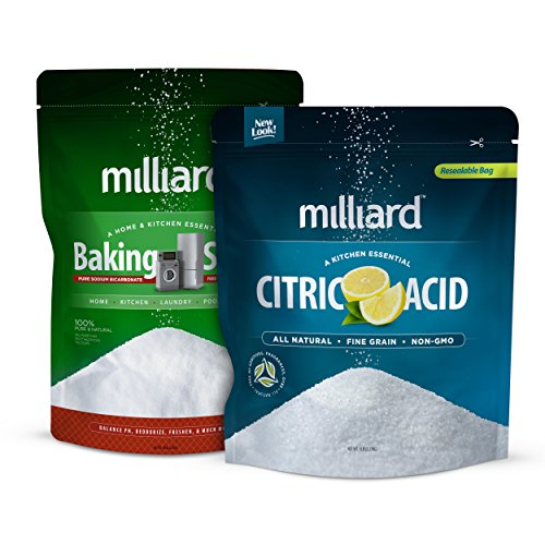 Milliard 5lbs Baking Soda / Sodium Bicarbonate USP + Milliard 100% Pure Food Grade Citric Acid - 5 lb. bag for pool pH adjustment and alkalinity - Pool Stabilizer Variety Pack Duo Clear Salt System