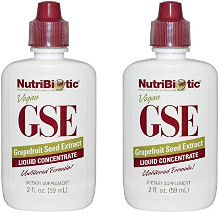 NutriBiotic Grapefruit Seed Extract Liquid Concentrate Pack of 2 featuring Unfiltered Formula rich with Bioflavonoids, Vegan, Gluten Free and Made without GMOs, 2 oz.