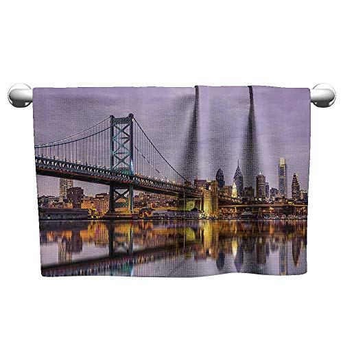 (Mannwarehouse Apartment Decor Collection Beach and Pool House Towel Ben Franklin Bridge and Philadelphia Skyline Under Sunsets Reflections on Water Image W19 x L39 Gray Ivory)