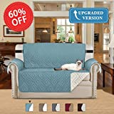Room Furniture H.VERSAILTEX Soft and Water-repellent Stay in Place Home Fashion Furniture Protector Anti-Slip Machine Washable Sofa Cover for Livingroom with Strap, 75inch x 90inch (Stone Blue/Beige, for Loveseat)