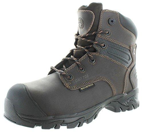 Justin Waterproof Shoes (Justin Original Work Men's Full Grain Brawny Work-Tek Waterproof Composition Toe Workboot, Brown, 9 W US)