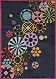 Momeni Rugs LMOTWLMT-8BLK80A0 Lil' Mo Hipster Collection, Kids Themed Hand Carved & Tufted Area Rug, 8' x 10', Black