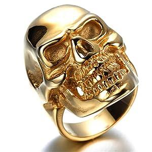 HIJONES Men's Jewelry Stainless Steel Golden Skull Ring