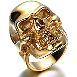 HIJONES Men's Jewelry Stainless Steel Golden Skull Ring Size 9
