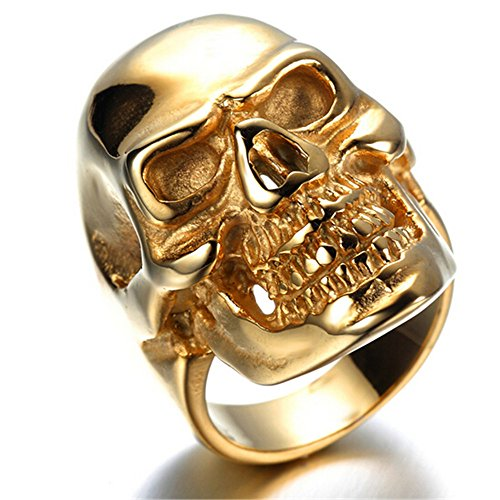 HIJONES Men's Jewelry Stainless Steel Golden Skull Ring Size 8