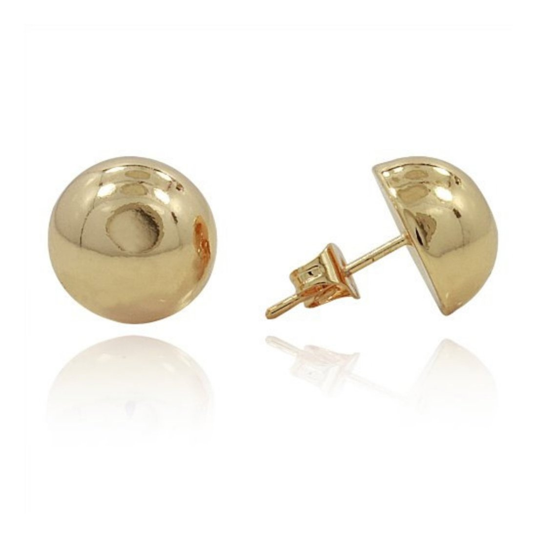 Half Ball Button Moon Stud Post Earring Yellow Plated 925 Sterling Silver