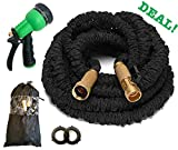 Expanding Water Hose 50 Feet Black, Expandable Garden Hose has Triple Latex Inner Tube, Brass Fittings, 8-Ways Spray Nozzle