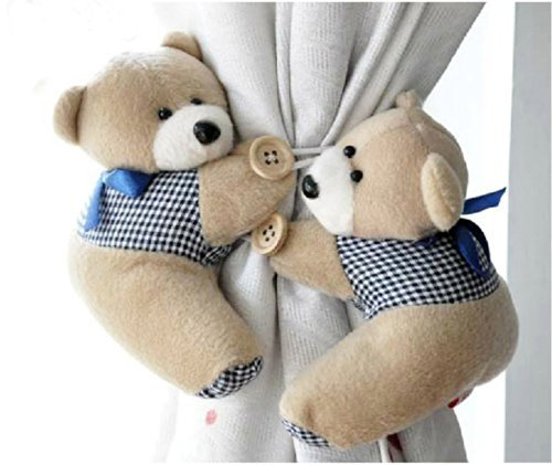 A Pair Baby Kid Toddler Child Infant Nursery Room Bedroom Animal Cartoon Plush Teddy Bear Window Curtain Tieback Tie Back Decor Holder Buckle Holdback Belt Hooks Clip Clasps Toy (Coffee) Bear Curtain Tie Backs
