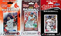 Boston Red Sox 3 Team Gift Lot Including the 2016, 2015 and 2014 Topps Factory Sealed Limited Edition 17 Card Team Set with Dustin Pedroia David Ortiz Plus