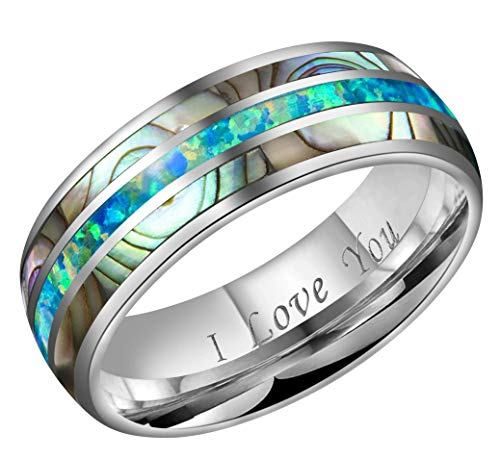 CROWNAL 8mm Blue Opal and Abalone Shell Inlay Tungsten Carbide Ring Men Women Wedding Band High Polished Engraved I Love You Size 7 to 17 (8mm,10) ()