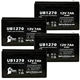 4x Pack - APC SMART-UPS 1500VA USB & SER SUA1500RMUS Battery - Replacement UB1270 Universal Sealed Lead Acid Battery (12V, 7Ah, 7000mAh, F1 Terminal, AGM, SLA) - Includes 8 F1 to F2 Terminal Adapters