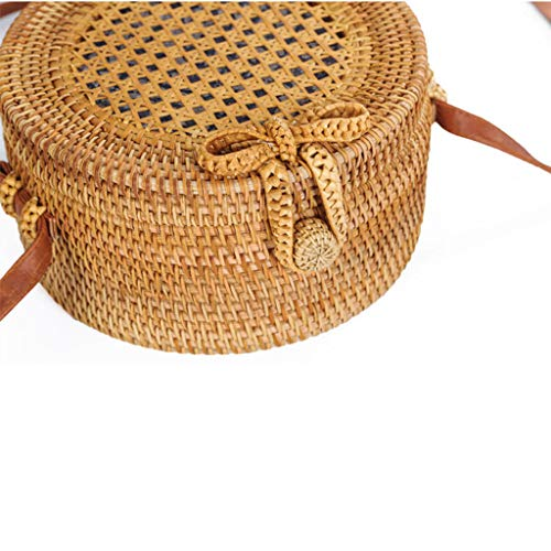 Women's Bag, Rattan Bag - Mesh - Open Beach Bag - Round Crossbody Bag - Lined - Vintage Floral Bag by BHM (Image #5)