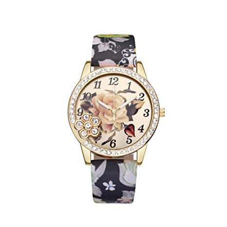 Amazon.com: Flower Wrist Watches for Girls, Iuhan Womens Leather Printed Flower Causal Quartz Wrist Watches Chronograph Leather Watch (D): Cell Phones & ...