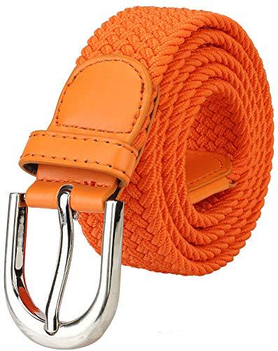Falari Men Women Canvas Elastic Fabric Woven Stretch Braided Belt - Orange-Medium]()