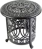Elisabeth Cast Aluminum Patio 21'' Round End Table with Ice Bucket Insert Antique Bronze.