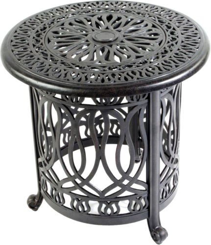 (Elisabeth Cast Aluminum Patio 21'' Round End Table with Ice Bucket Insert Antique Bronze. )