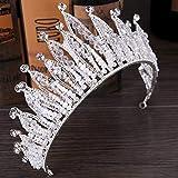 AlonSwallow Bridal Tiara Baroque Exquisite Crown Bride Crown Wedding Accessories Crown Hair Accessories (Color: White) Bridal Tiara Artificial Rhinestone Female Accessories