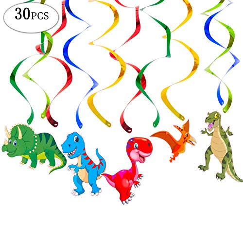 (Christmas Gifts Dinosaur Party Decorations 30pcs Dinosaur Themed Baby Birthday Party Spirals-Garland Hanging Swirl - Great for Baby Shower)