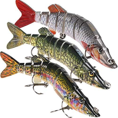 "Lixada Fishing Bass Lures 5"" Multi Jointed Topwater Life-Like Trout Swimbait Hard CrankBaits Hard Bait Fish Treble Hook"