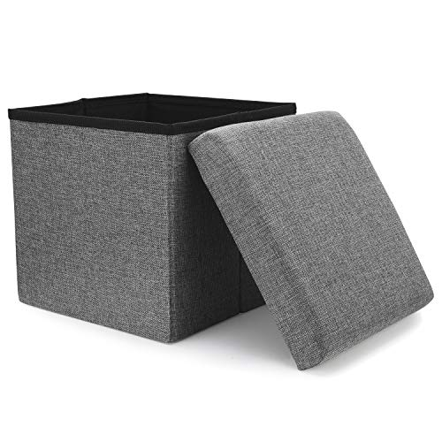(WoneNice Folding Storage Ottoman, Versatile Space-Saving Storage Toy Box with Memory Foam Seat, Max Load 100 kg Linen Gray 12 x 12 x 12 Inch)