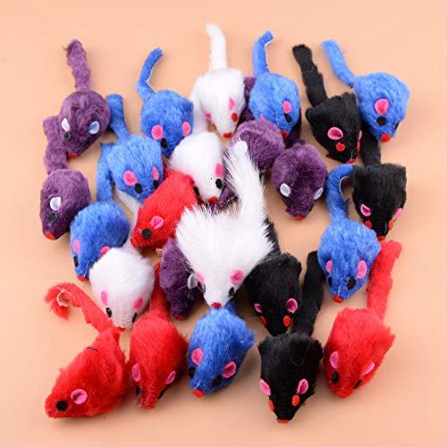 Agordo Funny Furry Mice cat Toy Kitten Toys Rabbit Fur False Mice Mouse 24Pcs