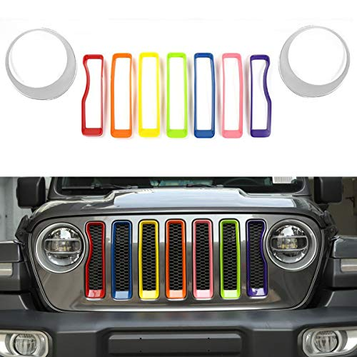 JeCar Front Grill Inserts & Headlight Cover Kit for 2018 Jeep Wrangler JL & Unlimited Sport/Sports (Seven colors, silver)