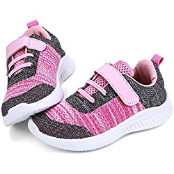 nerteo Toddler Shoes Girls Kids Breathable Sport Tennis Running/Walking Shoes Sneakers Dark Grey/Pink 10 M US Toddler